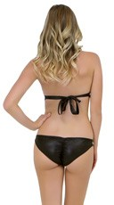 Studded Faux Leather Bikini Set - Black