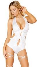 Rhinestone Bodysuit - White