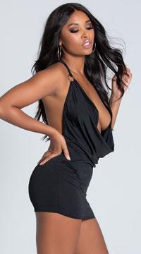 O Ring Cowl Neck Dress - Black