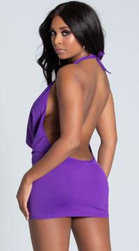 O Ring Cowl Neck Dress - Purple
