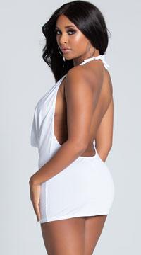 O Ring Cowl Neck Dress - White