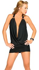 Halter Slinky Cowl Neck Mini Dress - Black