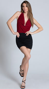 Dual Tone Cowl Neck Halter Dress - Black/Red