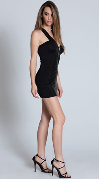 Zip Up Mini Dress - Black
