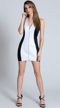 Zip Up Mini Dress - White