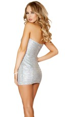 Strapless Sweetheart Sequin Dress - Silver