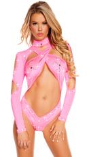 Ravishing in Rhinestones One Piece - Hot Pink