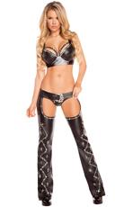 Rhinestone Studded Faux Leather Bikini and Chap Set - as shown