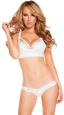 Rhinestone Studded Bikini Set - White