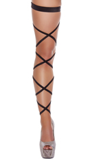 Solid Leg Strap with Attached Garter - Black