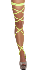 Rhinestone Studded Leg Wraps - Yellow