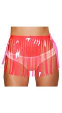 Fringed Neon Vinyl Skirt - Hot Pink