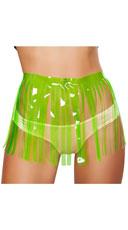 Fringed Neon Vinyl Skirt - Lime