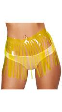 Fringed Neon Vinyl Skirt - Yellow