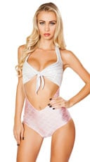 Fantasy Mermaid Cut-Out Romper - Silver/Pink
