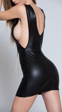 Deep Sleeve Black Mini Dress - Black