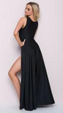 High Cut Maxi Dress - Black