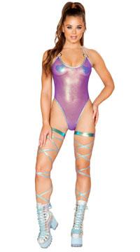 Sheer Iridescent Romper - Purple
