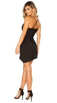 All Wrapped Up Satin Dress - Black