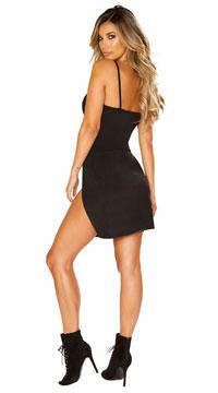 Double Split Mini Dress - Black