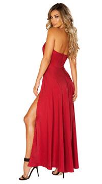 Satin Elegance Burgundy Dress - Burgundy