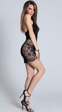 A Touch of Lace Mini Dress - Black