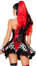 Deluxe Court Jester Cutie Costume - Red/Black/White