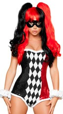Sexy Jokester Costume - Black/White/Red