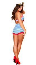 Playful Pinup Sailor Costume - Red/White/Blue