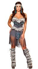 Deluxe Native American Hottie Costume - Grey