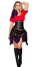 Deluxe Seductive Gypsy Costume - Red/Black/Purple