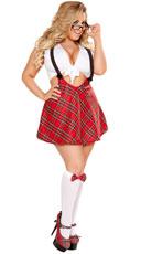 Plus Size Sexy Study Partner Schoolgirl Costume - Red/White