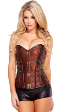 Elegant Corset with Front Clasp - Brown/Bronze