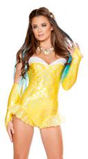Sunny Mermaid Romper - Yellow
