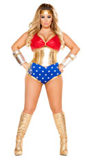 Plus Size Mighty Comic Hero Costume - Red/Gold/Blue