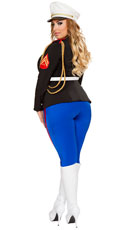 Plus Size Sexy Marine Corporal Costume - Black/Blue/Red