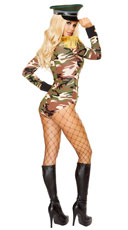 Army Girl Costume - Black/Camouflage