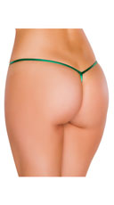 Metallic Tear Drop Thong - Hunter Green