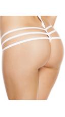 Triple Strapped String Back Thong - White