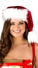 Fur Trimmed Santa Hat - Red/White