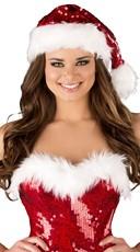 Sequin Santa Hat - Red