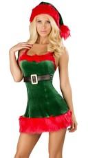 Santa's Envy Christmas Dress - Green/Red