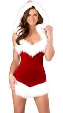 Christmas Beauty Hooded Dress - Red/White
