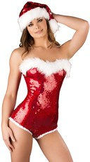 Santa's Baby Sequin Romper - Red/White