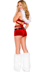 Santa's Vixen Wrap Around Top and Shorts - Red/White