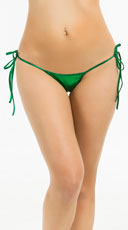 Metallic Tie Side Scrunch Bottom - Hunter Green