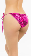 Metallic Tie Side Scrunch Bottom - Pink