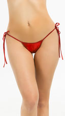 Metallic Tie Side Scrunch Bottom - Red