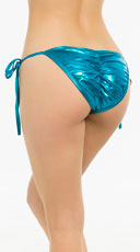 Metallic Tie Side Scrunch Bottom - Turquoise