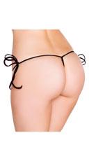 String Back Tie Side Bottom - Black
